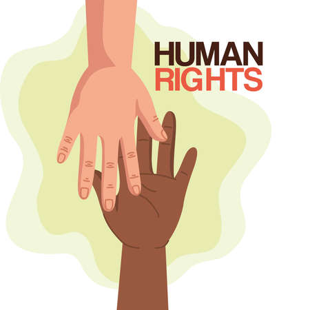 Human rights with hands design, Manifestation protest and demonstration theme Vector illustration 矢量图像