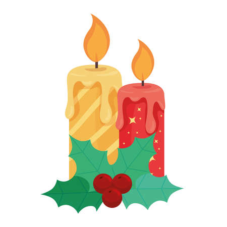 happy merry christmas candle decoration vector illustration design