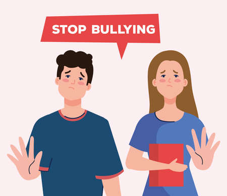 stop bullying and sad girl and boy kids with book design, violence victim bully and social theme Vector illustration