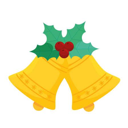happy merry christmas bells decoration vector illustration design