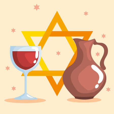 Happy hanukkah cup and oil pitcher design, holiday celebration judaism religion festival traditional and culture theme Vector illustration