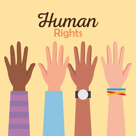Human rights with hands up design, Manifestation protest and demonstration theme Vector illustration