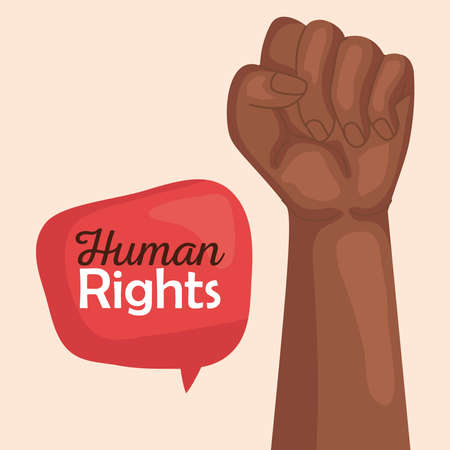 Human rights with black fist up and bubble design, Manifestation protest and demonstration theme Vector illustration