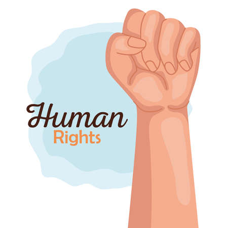 Human rights with fist up design, Manifestation protest and demonstration theme Vector illustration