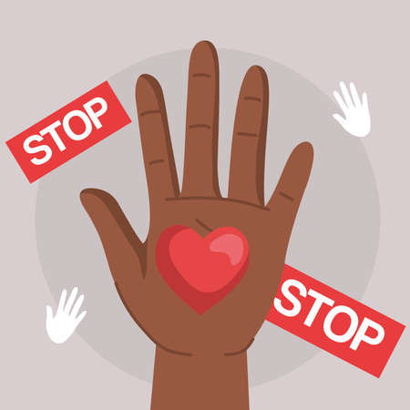 Human rights with black hand heart and stop banners design, Manifestation protest and demonstration theme Vector illustration
