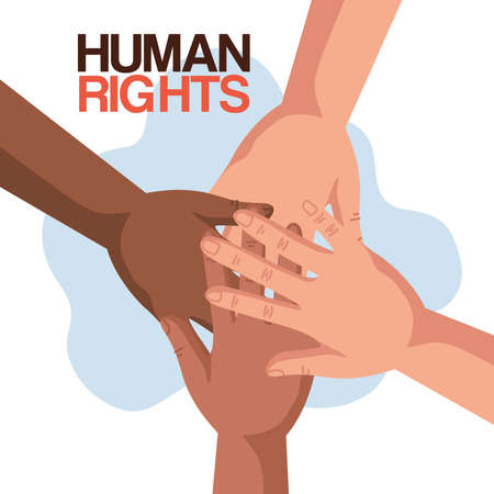Human rights with diversity hands design, Manifestation protest and demonstration theme Vector illustration