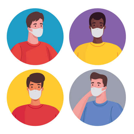 group of interracial men wearing medical masks characters vector illustration design
