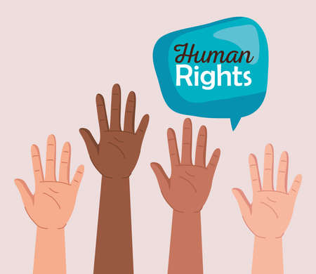 Human rights with diversity hands and bubble design, Manifestation protest and demonstration theme Vector illustration 矢量图像