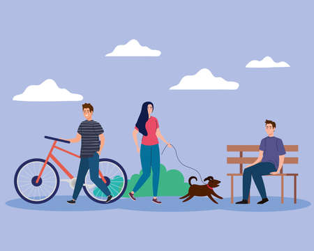 woman with dog and men at park design, Outdoor activity and season theme Vector illustration