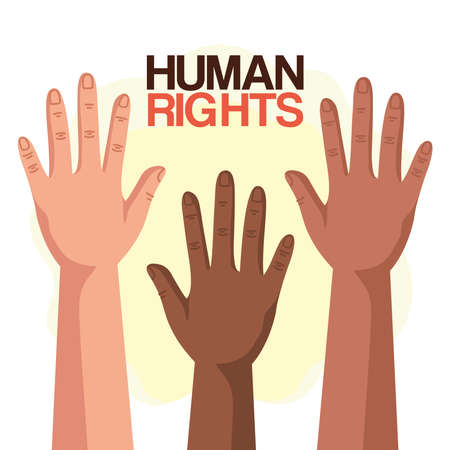 Human rights with diversity hands up design, Manifestation protest and demonstration theme Vector illustration