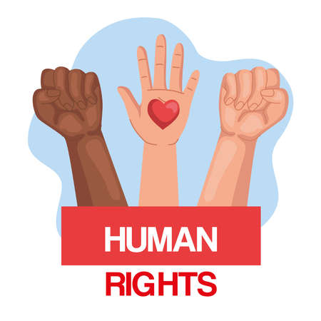 Human rights with fists and hand up with heart design, Manifestation protest and demonstration theme Vector illustration
