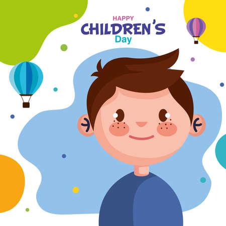Happy childrens day with boy cartoon design, International celebration theme Vector illustration Vector Illustration
