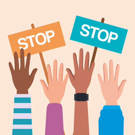 Human rights with hands up and stop banners design, Manifestation protest and demonstration theme Vector illustration
