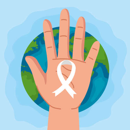 Human rights and hand with ribbon design, Manifestation protest and demonstration theme Vector illustration 矢量图像