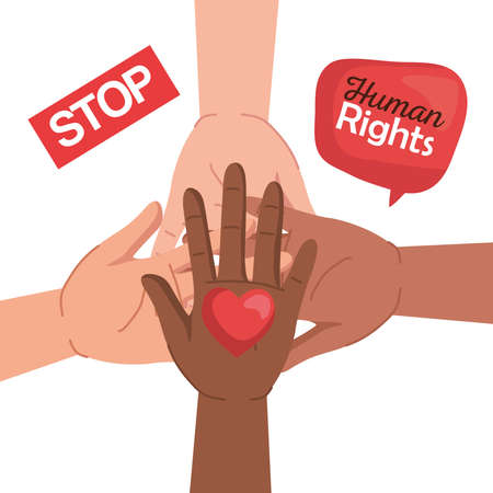 Human rights with diversity hands heart and bubble design, Manifestation protest and demonstration theme Vector illustration