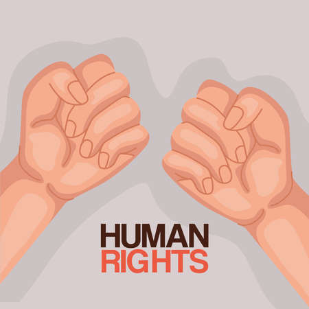 Human rights with fists up design, Manifestation protest and demonstration theme Vector illustration