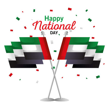 Uae national day with flag design, arab spirit and holiday theme Vector illustration