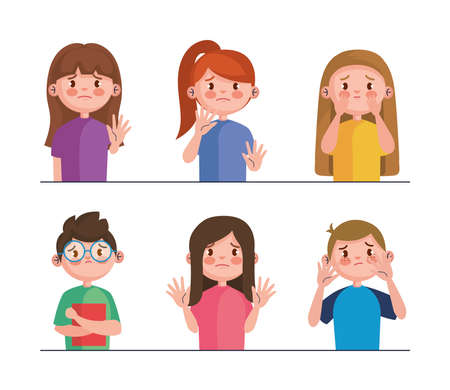 stop bullying and sad girls and boys kids design, violence victim bully and social theme Vector illustration Vecteurs