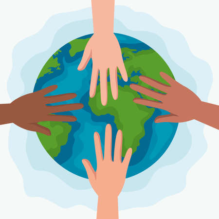 Human rights with hands and world design, Manifestation protest and demonstration theme Vector illustration