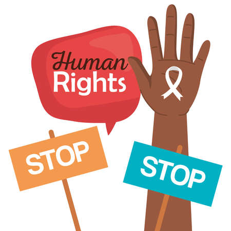 Human rights hand with ribbon and stop banners design, Manifestation protest and demonstration theme Vector illustration