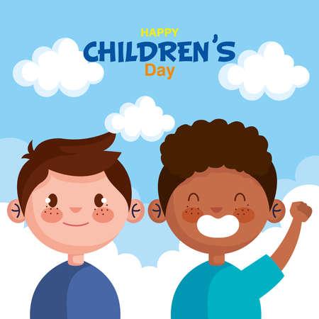 Happy childrens day with boys cartoons design, International celebration theme Vector illustration