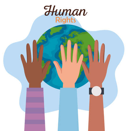 Human rights with diversity hands and world design, Manifestation protest and demonstration theme Vector illustration 矢量图像