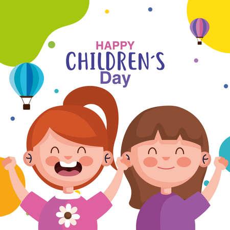 Happy childrens day with girls cartoons design, International celebration theme Vector illustration