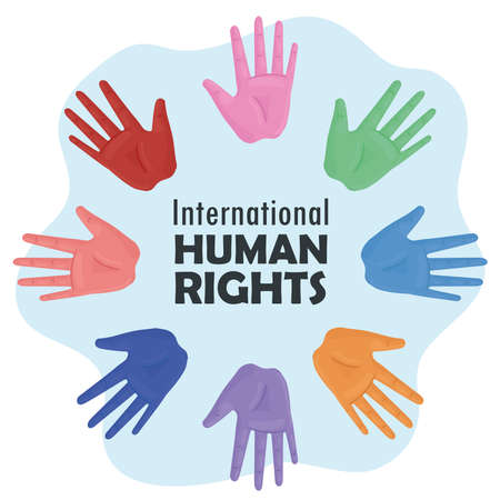 international human rights lettering poster with hands colors print vector illustration design