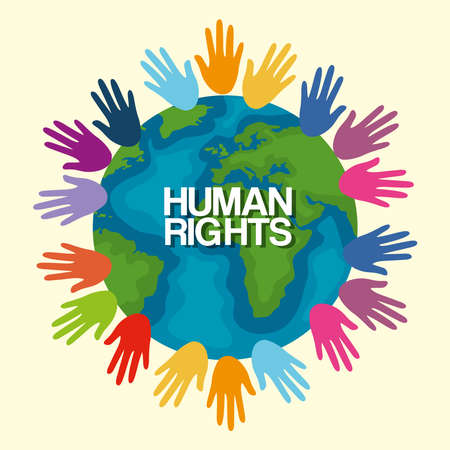 Human rights with colored hands and world design, Manifestation protest and demonstration theme Vector illustration