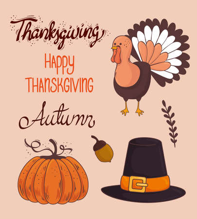 happy thanksgiving celebration lettering card with bundle icons vector illustration design