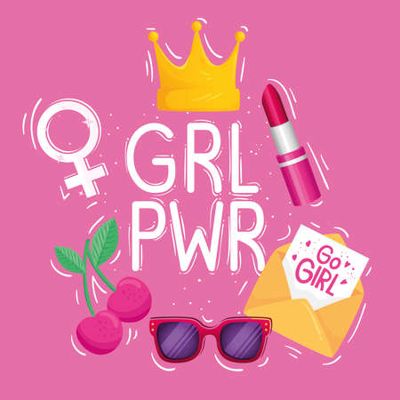 girl power lettering with crown and set icons vector illustration design