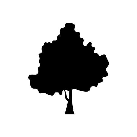 leaved tree plant silhouette style icon vector illustration design 向量圖像