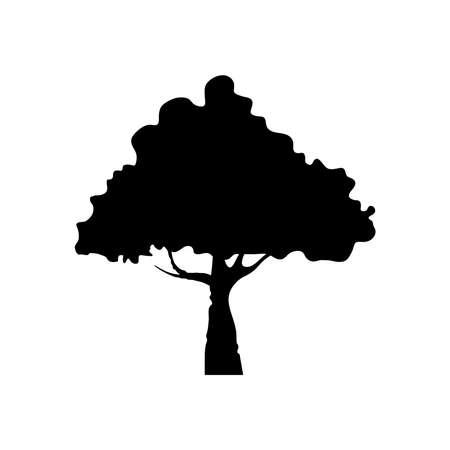 leafy tree plant silhouette style vector illustration design