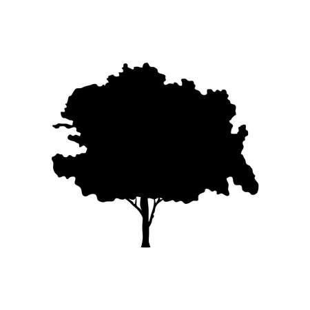leafy tree plant silhouette style icon vector illustration design