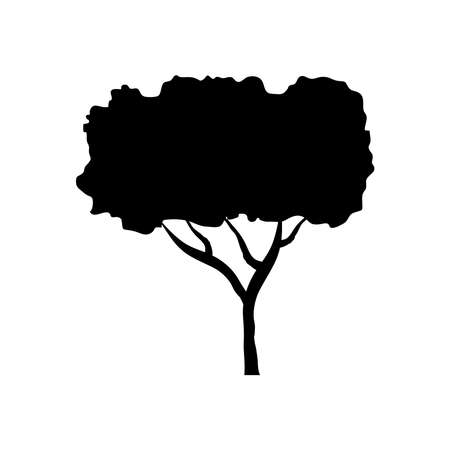 leaved tree plant style silhouette icon vector illustration design