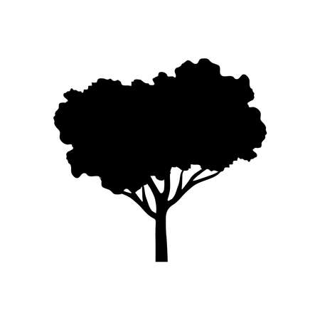 leaved tree plant silhouette style vector illustration design