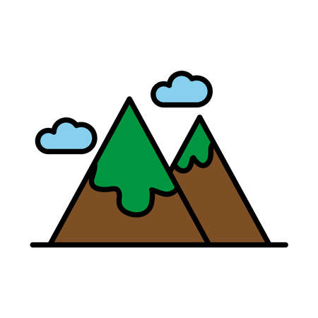 mountains with snow line and fill style icon vector illustration design