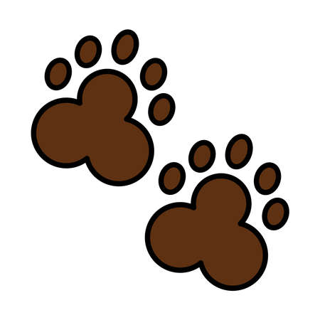 bear wild pawprints line and fill style icon vector illustration design Illustration