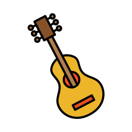 guitar musical instrument line and fill style icon vector illustration design
