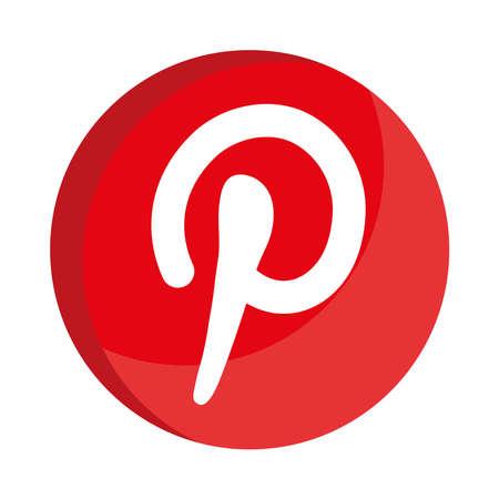 pinterest social media logo flat style icon vector illustration design