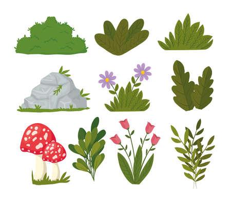 bundle of landscape set icons vector illustration design