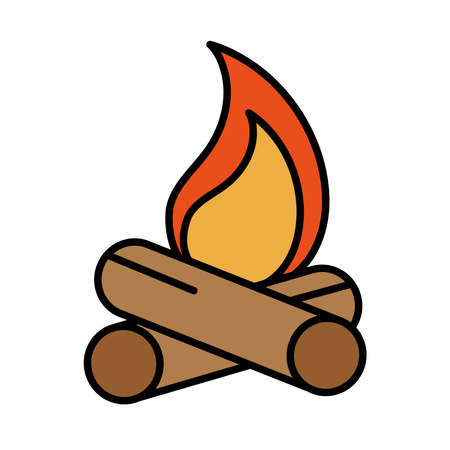 campfire flame burn line and fill style icon vector illustration design Çizim