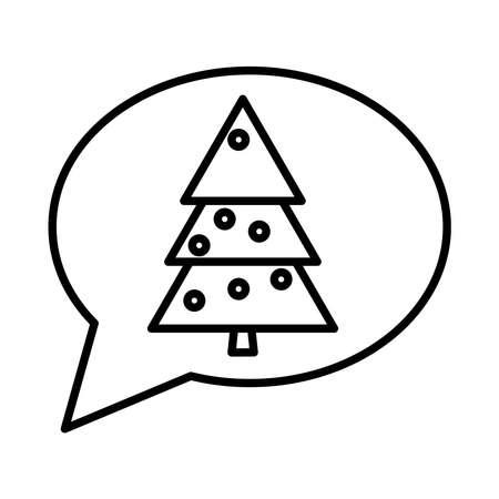 happy merry christmas pine tree in speech bubble line style icon vector illustration design Çizim