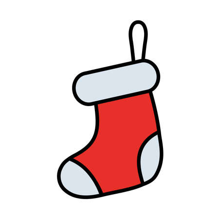 happy merry christmas sock line and fill style icon vector illustration design Çizim