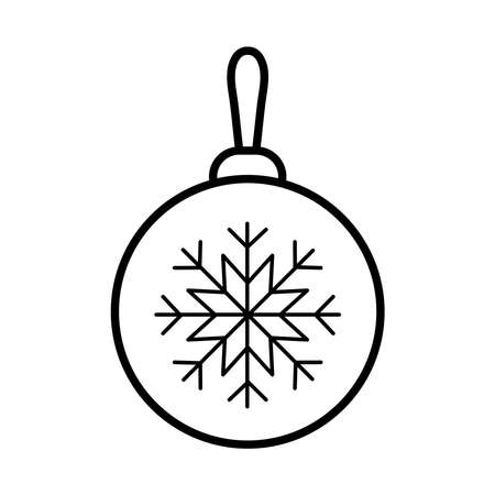 happy merry christmas ball with snowflake line style icon vector illustration design