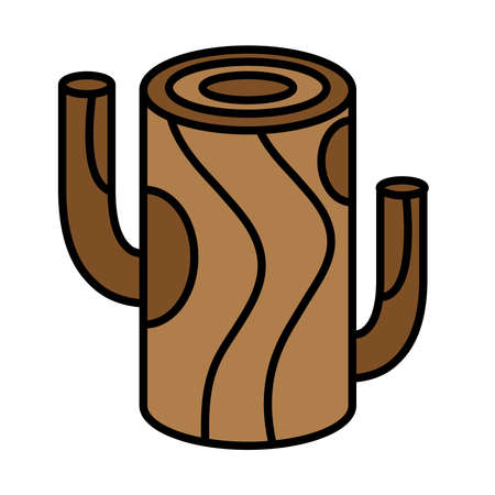 tree wooden trunk line and fill style icon vector illustration design