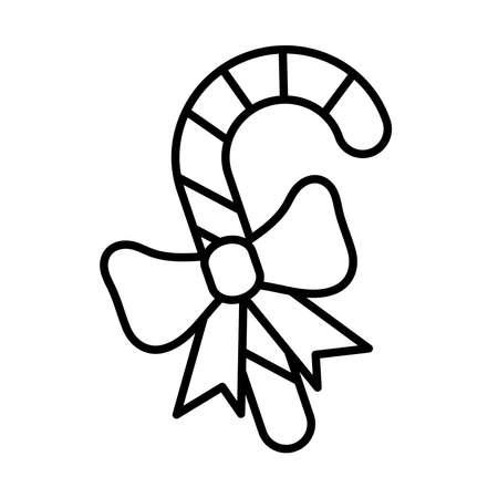 happy merry christmas sweet cane line style icon vector illustration design Çizim