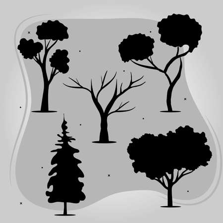 bundle of five trees forest silhouette style icons vector illustration design
