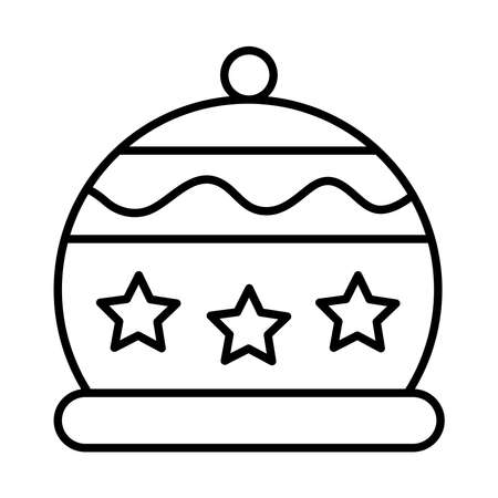 happy merry christmas hat with stars line style icon vector illustration design