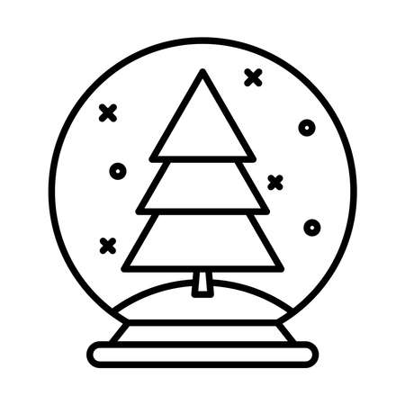 happy merry christmas pine tree in ball line style icon vector illustration design